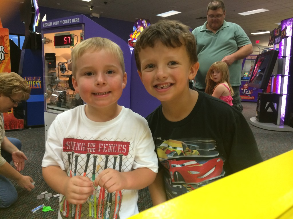 Leo and Everett at Chuck E Cheese